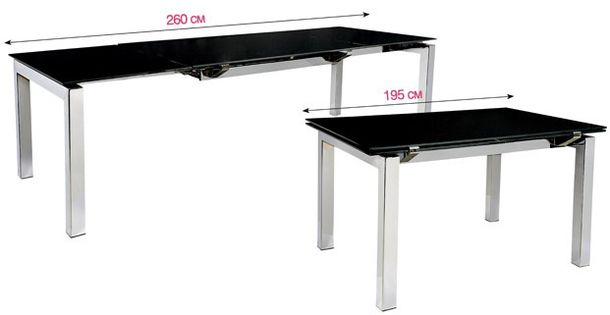 Sliding table made of steel and glass