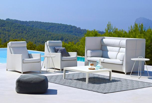 Upholstered furniture on the pool terrace