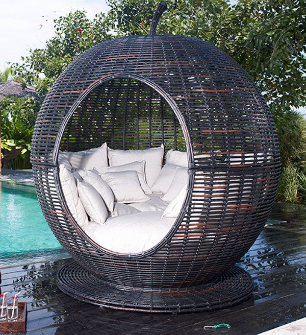 Round chair poolside