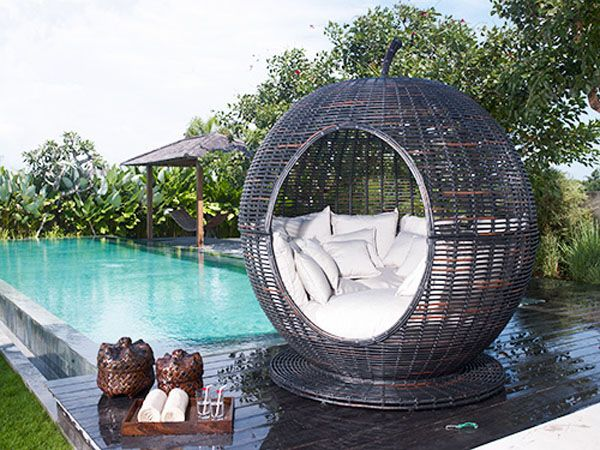 Wicker chair by the pool