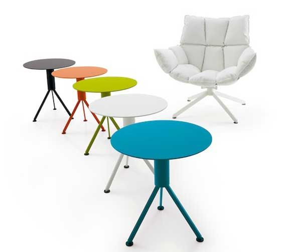 Creativity and bright armchair tables