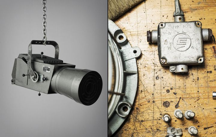 Hanging lamp in the form of video cameras from the collection of Vintage Industrial Matt Szaplonczai