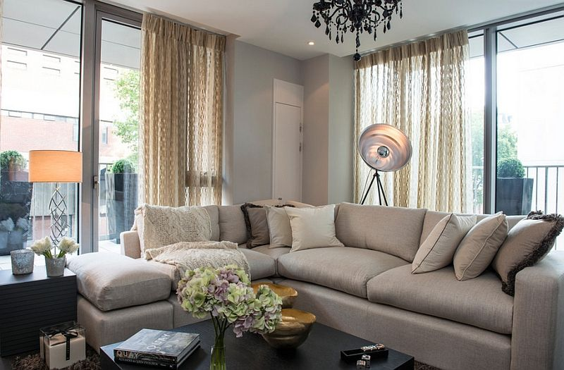 Glamorous spotlight in the design of feminine living room