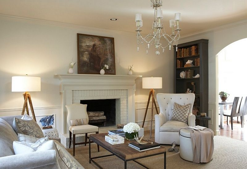 Rough tripod lamp in an elegant living room interior design