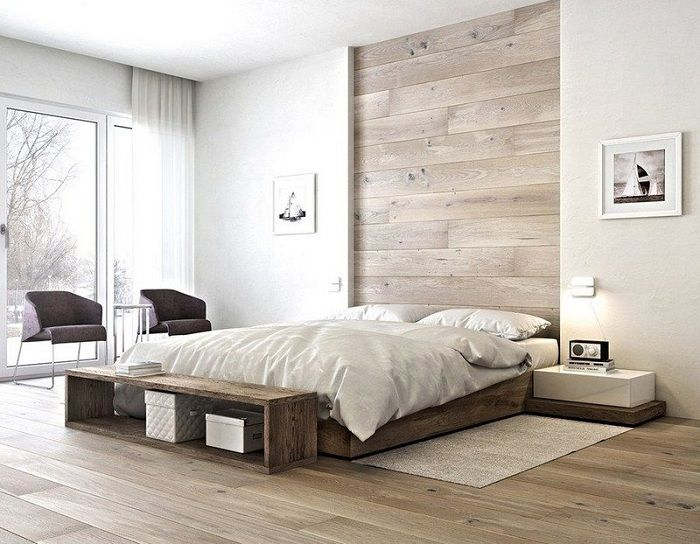 A great example of interior design bedrooms with cool bed on a platform.