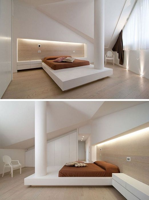 An interesting example of the decor bedroom with a bed on the platform and excellent illumination.