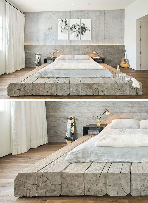 Charming interior transformed using a non-standard bed on a wooden platform.