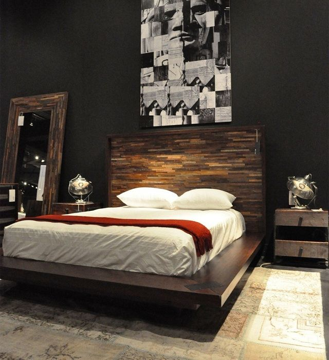 Practical idea to decorate the interior of the bedroom in the dark shades.