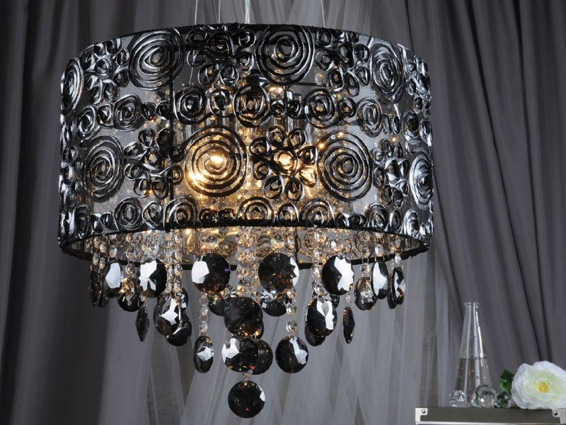 Hanging wrought-iron lamp-shade in the interior