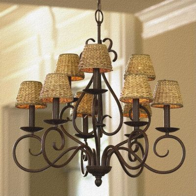 Wonderful pendant wrought-iron lamp-shade in the interior
