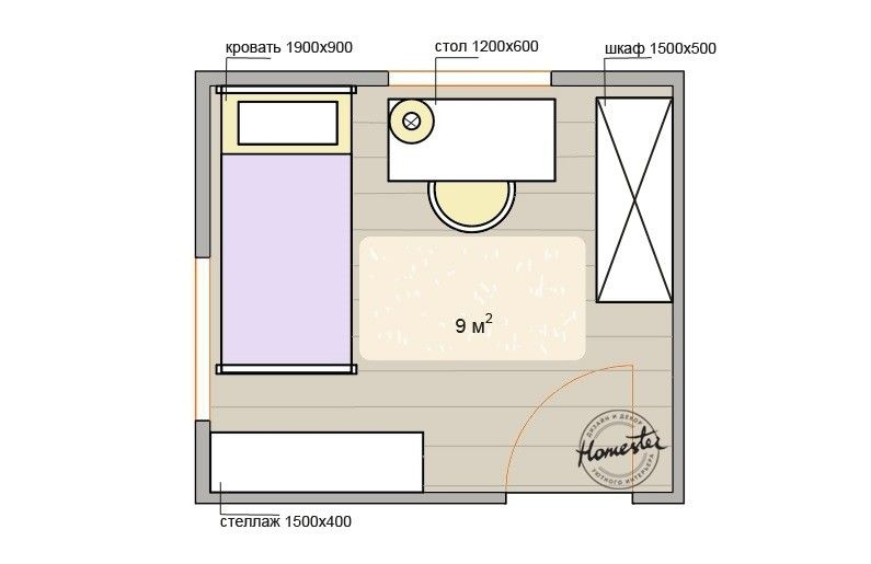 Planning children's room 9 sqm