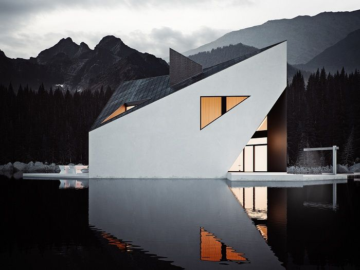 Geometric lines at home on the lake.
