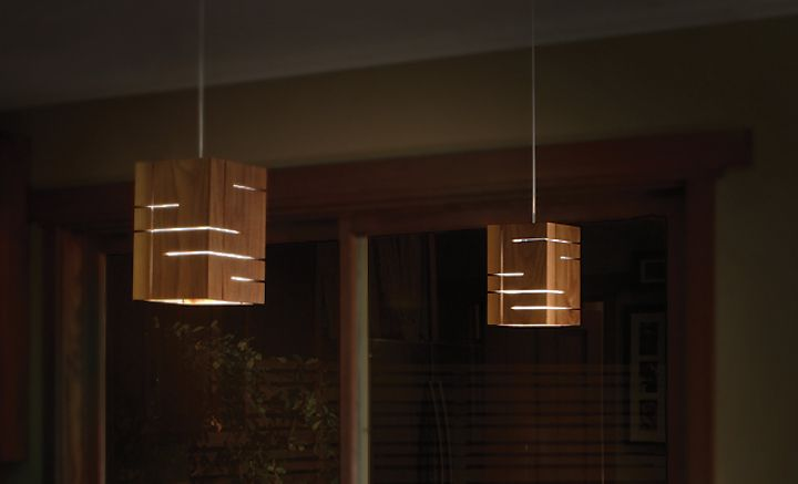 Suspended wooden lamps in a dark color Claudo