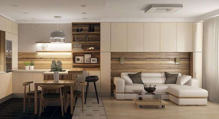 Interesting to combine the interior of the living room and dining room that will optimize the maximum space.