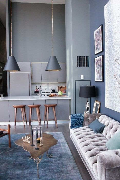 Optimal and a very interesting solution for the decoration of the space in the house thanks to gray shades.