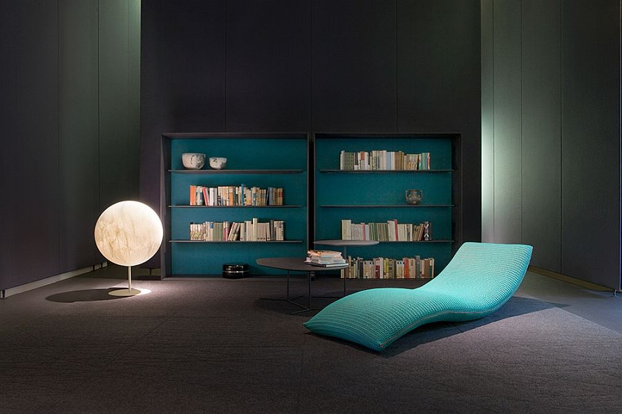 Cool sofa, shelves, lighting in the library