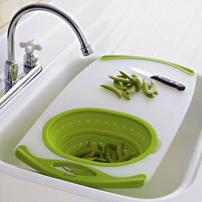 Combination of sink and cutting board that will be the option to save space in the kitchen.