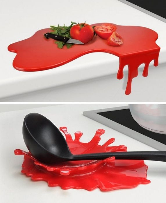 An unusual option to create an original cutting board and stand for appliances in the kitchen.