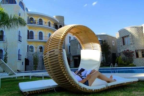 Beautiful sun lounger by the pool