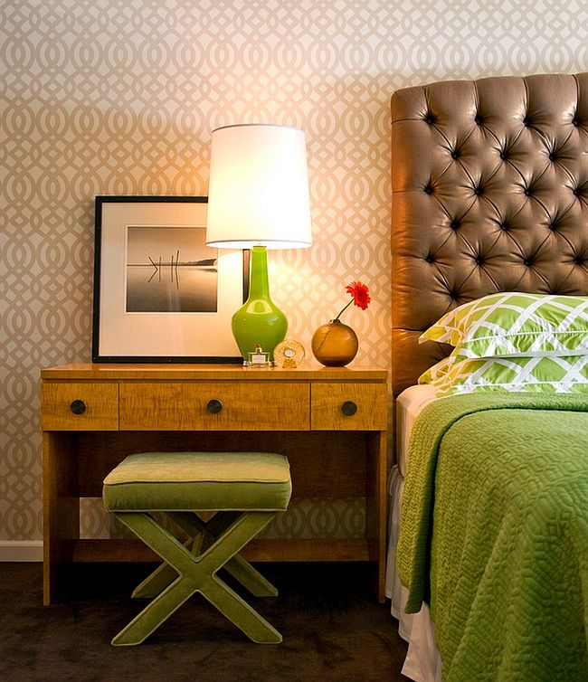 A green table lamp in interior design