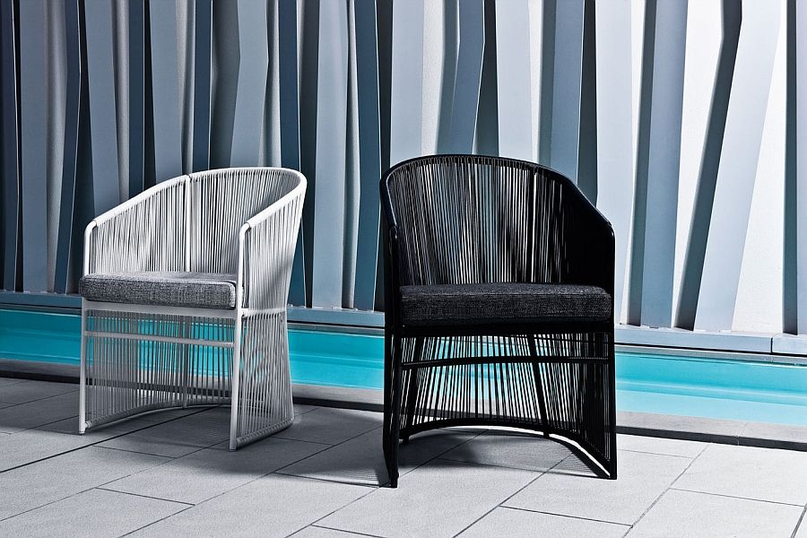Black and white wicker chairs