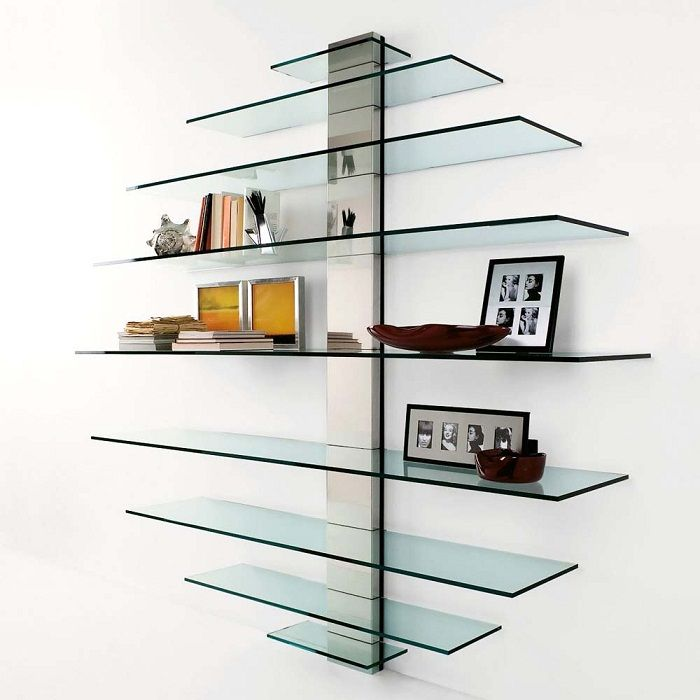 Shelves of glass make the interior weightless.