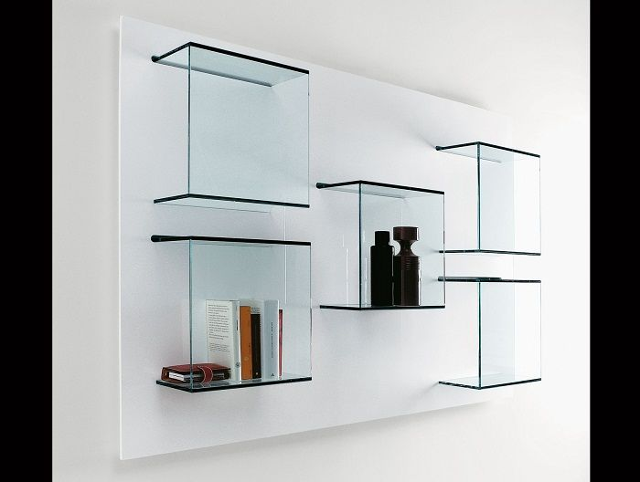 Glass shelves instead of bulky furniture.