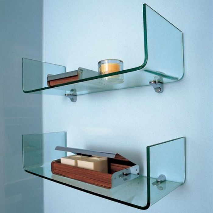Custom shelves for the interior in the style of hi-tech.