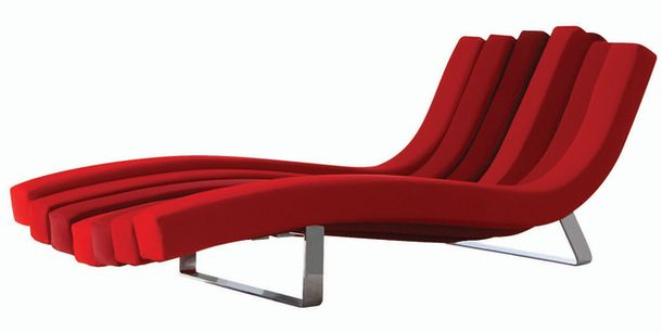 Red fashioned chaise longue