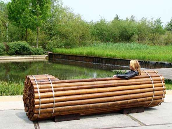 Beautiful wooden park bench