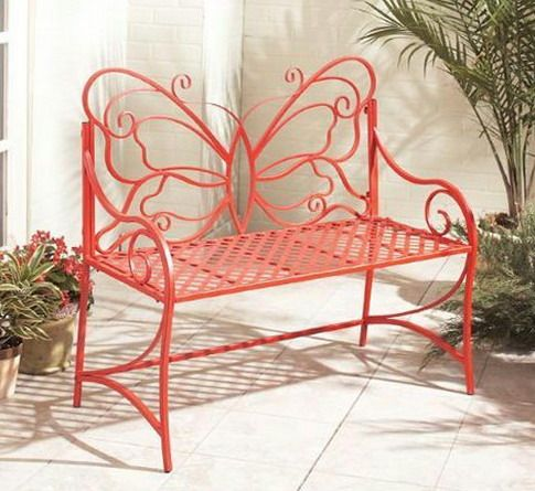 Red bench with a backrest in the form of butterflies