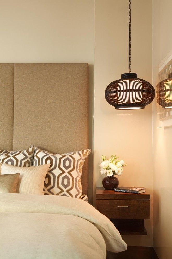 Hanging lamp in the interior of the bedroom of Michael Fullen Design Group