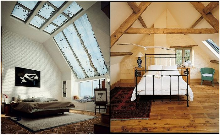 Examples of drawing rooms under the attic.