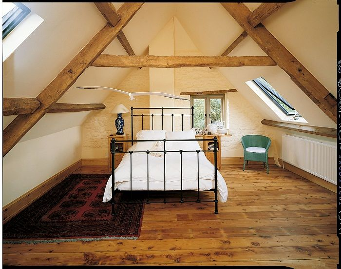 A nice design of the room under the attic, which will be a godsend for any home.