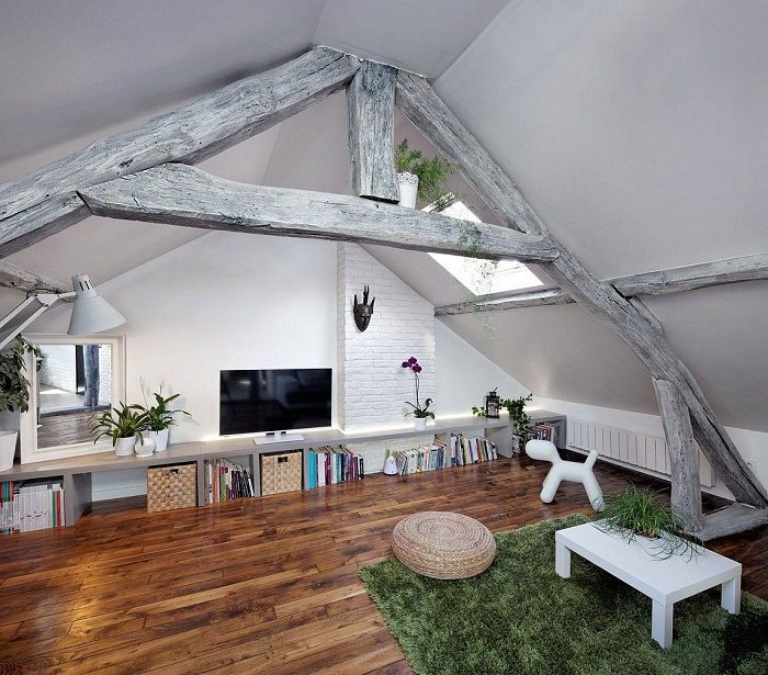 It is necessary to place a room for relaxing in the secluded place of the house, for example, under the attic.