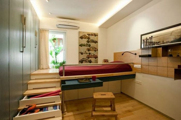 Bed, table and storage system in one design