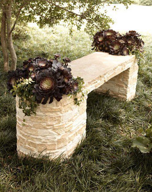 стилни пейки за градина от мрамор, камък и бетон