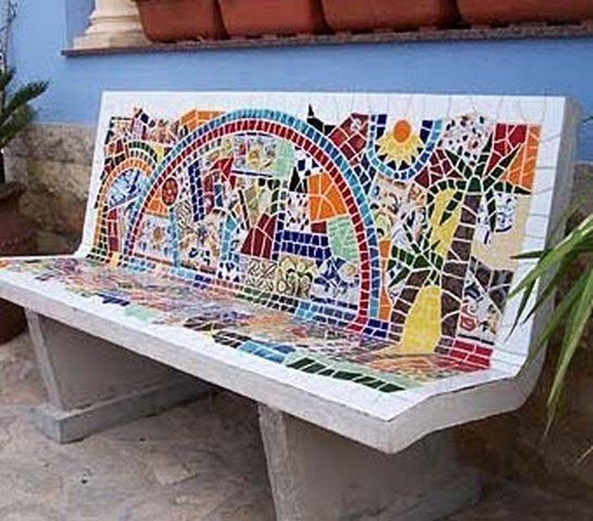 A bench with a high back