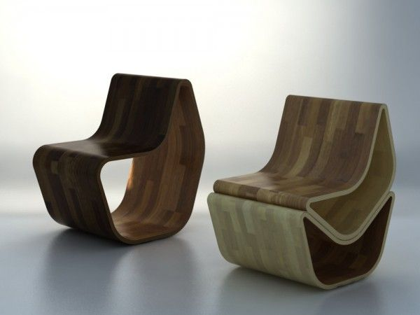 Designer chairs made of wood