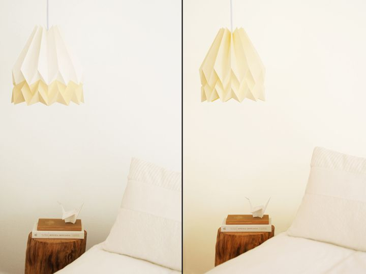 Paper Orikomi lamps with yellow shade