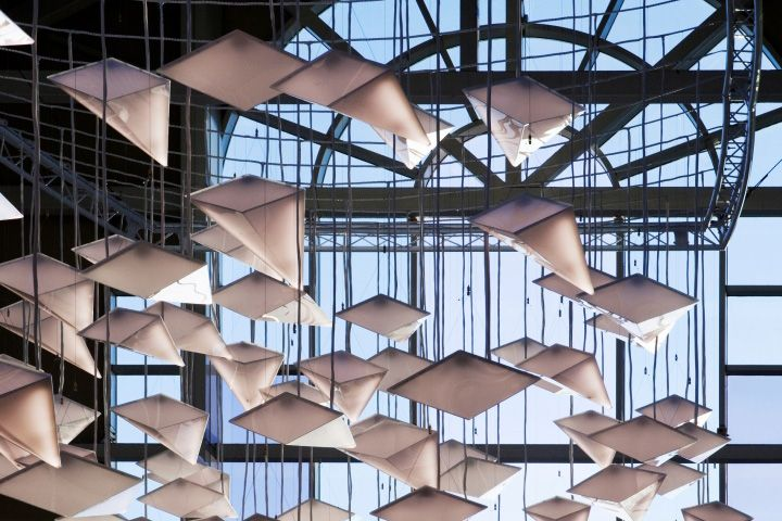 Bright lighting system Flock of Birds in the interior of the shopping center