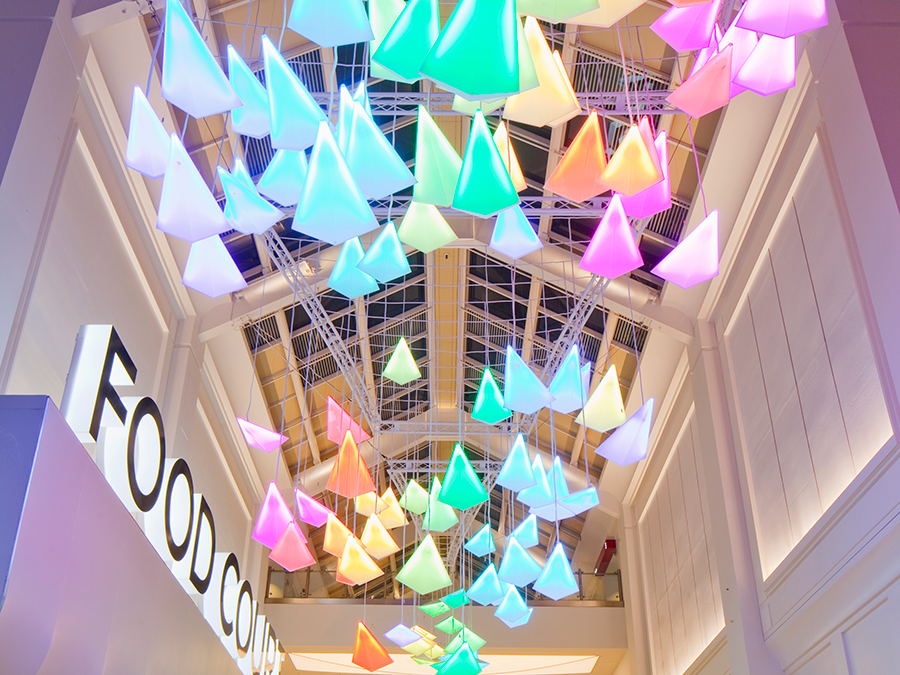 The lighting system Flock of Birds in the interior of the shopping center