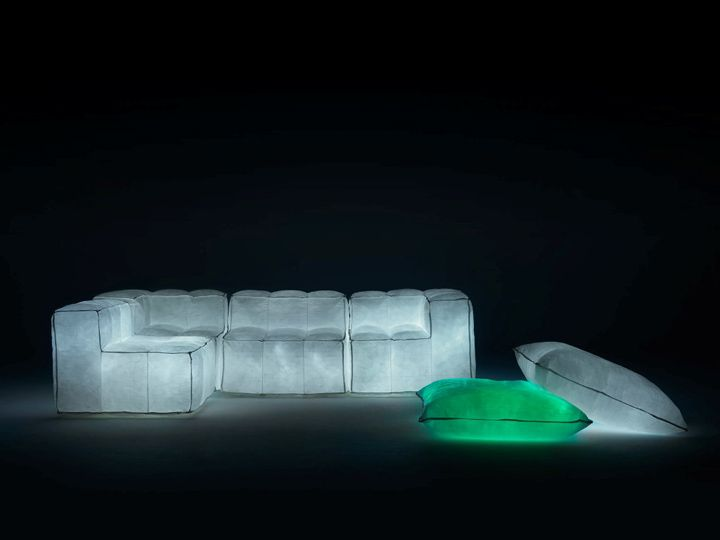 Creative armchairs, a sofa and ottomans with backlight