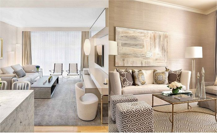 Examples of living decor in soft cream colors.