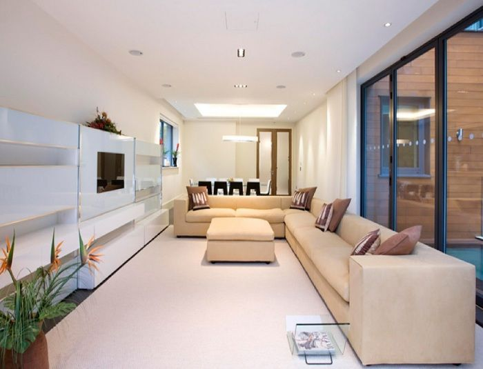Beautiful living room interior in soft beige tones that exactly like it.