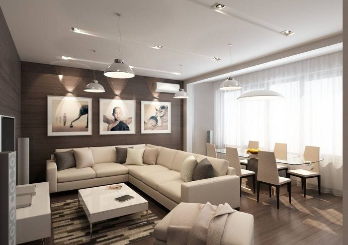 Cool living example of interior design in soft cream colors, creating a warm environment.