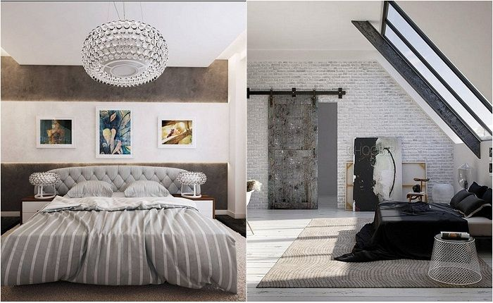 Ideas for decoration of bedrooms in a contemporary style.