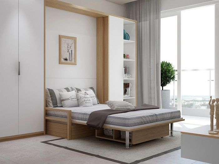 Beautiful bedroom interior created thanks to a perfect and practical solutions.