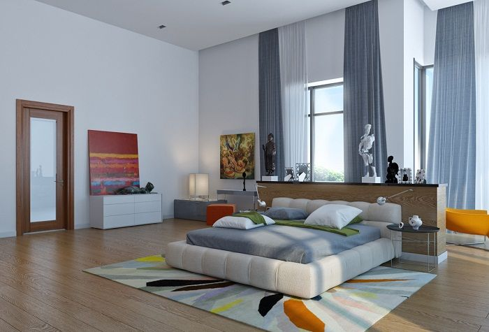 Beautiful design bedroom with a large area, which is decorated in contemporary trends.