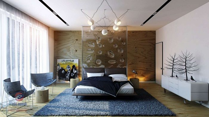 A good example of a design bedroom that clearly enjoy and create a cool decor.